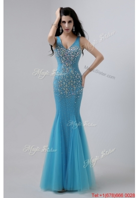2016 Luxurious Mermaid Beaded Prom Dresses with V Neck