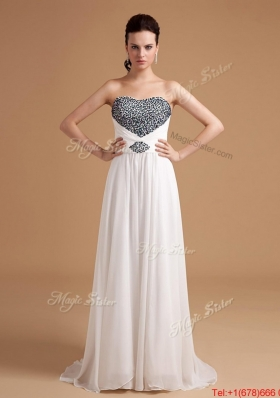 2016 New Arrival Sweep Train Beading Prom Dresses in White