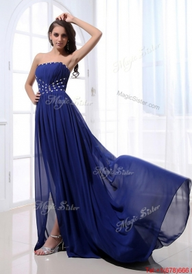 Beautiful Beading Brush Train Strapless Prom Dresses in Royal Blue for 2016