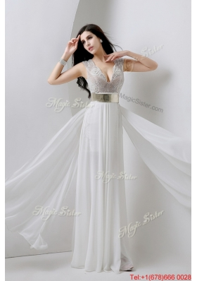 Classical Empire V Neck White Prom Dresses with Beading and Belt