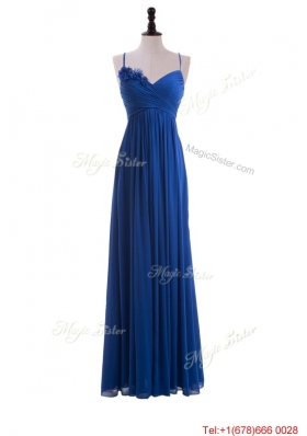 Custom Made Empire Spaghetti Straps Ruching Prom Dresses with Hand Made Flowers