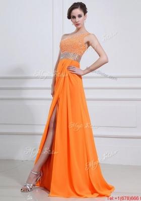 Exquisite Beading and High Slit Orange Prom Dresses with Brush Train