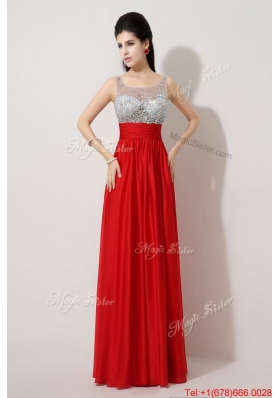 Fashionable Side Zipper Red Prom Dresses with Scoop