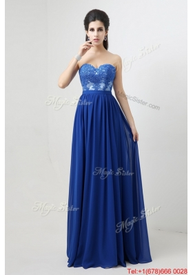 Hot Sale Sweetheart Blue Prom Dresses with Appliques