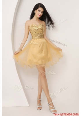 Luxurious A Line Gold Sweetheart Prom Gowns with Lace Up