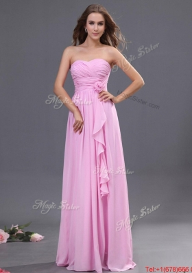 Modest Ruching and Hand Made Flower Prom Dress in Rose Pink