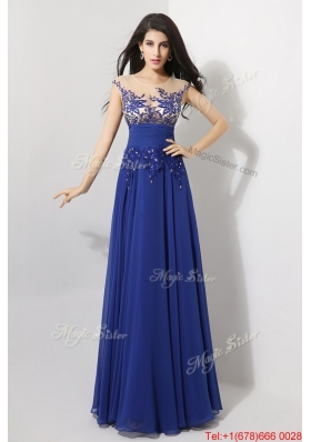 Perfect Cap Sleeves Prom Dresses with Appliques and Beading
