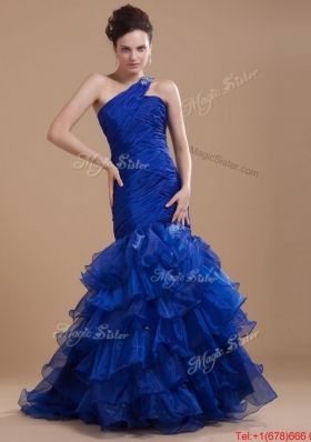 Pretty One Shoulder Ruffled Layers Prom Gowns with Mermaid