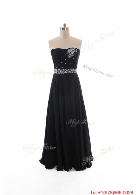 Simple Empire Strapless Beaded Prom Dresses in Black for 2016