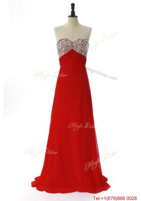 Vintage 2016 Winter Beading Red Prom Dresses with Sweep Train