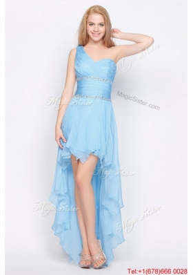 Affordable One Shoulder Beading High Low Prom Dresses in Baby Blue for 2016