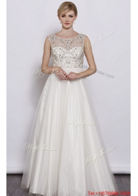 2016 Beautiful A Line Scoop White Prom Dresses with Beading