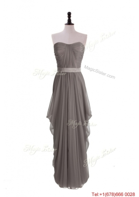 2016 Beautiful Grey Long Prom Dresses with Ruching and Belt