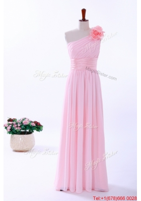 2016 Fall Custom Made Empire One Shoulder Hand Made Flowers Prom Dresses in Baby Pink