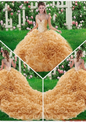 2016 Luxurious Ball Gown Straps Court Train 2016 Quinceanera Dresses with Beading