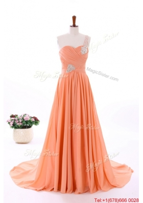 2016 Spring Empire Asymmetrical Prom Dresses with Beading