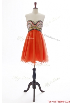 2016 Vintage  Beading Orange Red Short Prom Dress for 2016