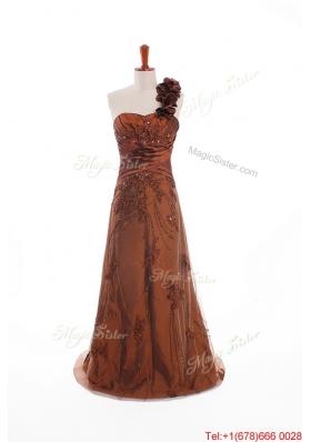 Custom Made Appliques and Hand Made Flowers Prom Dresses