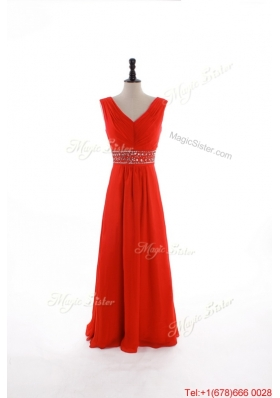 Custom Made Empire V Neck Prom Dresses with Beading and Sequins
