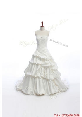 Pretty Elegant A Line Strapless Wedding Dresses with Pick Ups for 2016