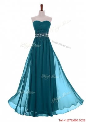 Simple Empire Sweetheart Beaded Prom Dresses with Belt