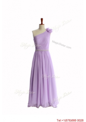 Vintage Hand Made Flower and Belt Lilac Prom Dresses with Brush Train