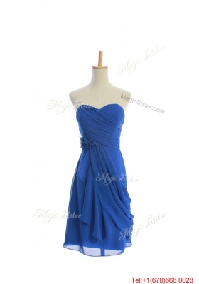 Vintage Hand Made Flowers and Ruching Short Prom Dresses in Royal Blue