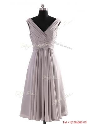 Vintage  V Neck Short Beading Grey Prom Dresses for Graduation