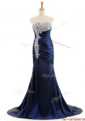 Beautiful  Mermaid Royal Blue Prom Dresses with Brush Train