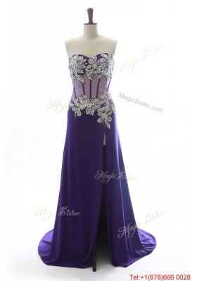 Beautiful Sweetheart Beading Brush Train Prom Dresses in Purple
