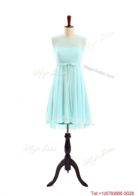 Brand New Scoop Short Apple Green Prom Dresses with Belt for 2016