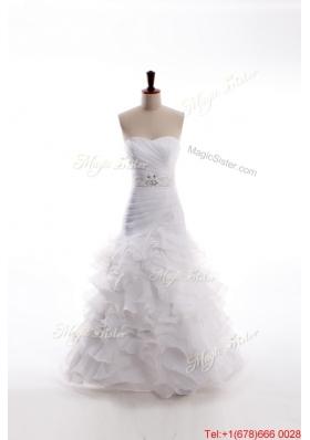 Great Affordable Mermaid Sweetheart Brush Train Beaded Wedding Dresses