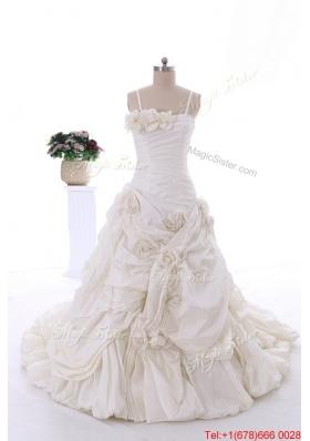 Pretty Classical Hand Made Flowers Court Train Wedding Dresses