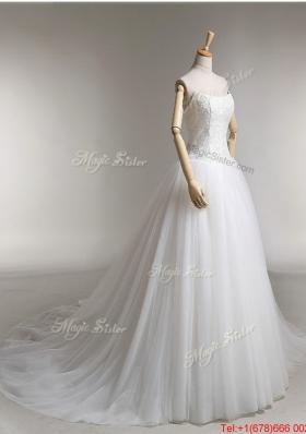 Pretty Elegant A Line Strapless Wedding Dresses with Appliques