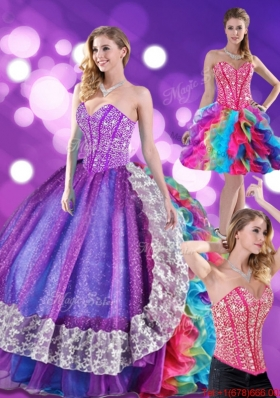 2015 Fashionable Beading and Ruffles Sweetheart Quinceanera Dresses in Multi Color
