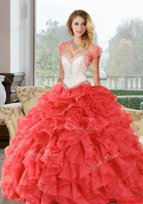 Wonderful Beading and Ruffles Sweetheart Quinceanera Dresses for  2015