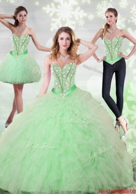 2015 Fashionable Beading and Ruffles Sweetheart Quinceanera Gown in Apple Green