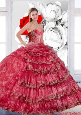 2015 New Style Appliques and Ruffles Quinceanera Dress in Coral Red