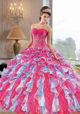 2015 New Style Ball Gown Quinceanera Dress with Appliques and Ruffles