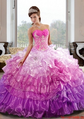 Fashionable Sweetheart 2015 Quinceanera Dress with Appliques and Ruffled Layers