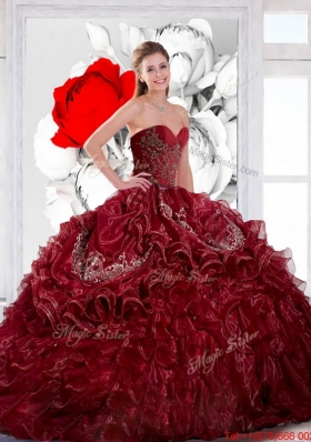 Gorgeous Sweetheart Wine Red 2015 Quinceanera Dress with Appliques and Ruffles