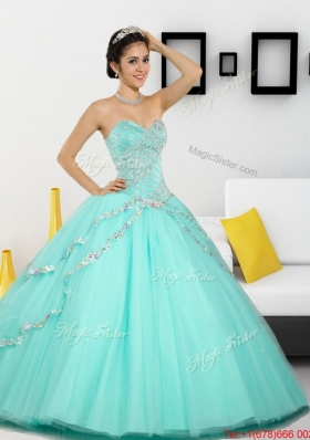 2015 The Super Hot Beading Sweetheart Quinceanera Dresses in Apple Green