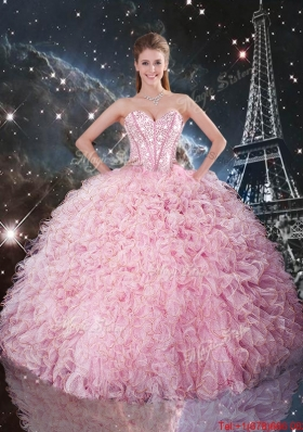 2015 Summer Cheap Ball Gown Pink Quinceanera Dresses with Ruffles and Beading