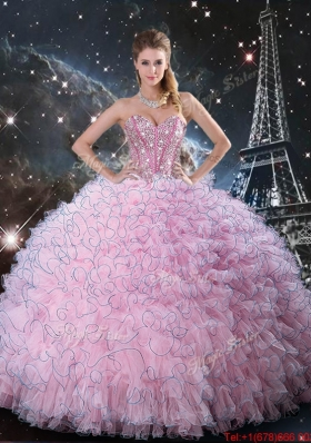 2016 Fall New Style  Pink Sweetheart Quinceanera Dresses with Beading and Ruffles