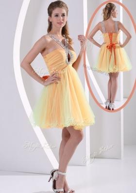 2016 Beautiful Straps Mini Length Beading Bridesmaid Dresses