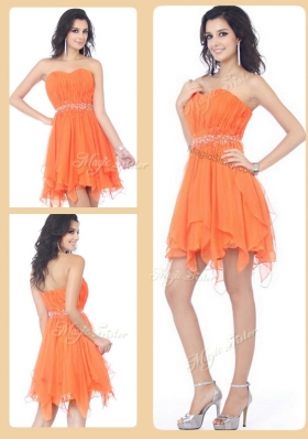 2016 Cheap Sweetheart Beading and Ruching Short Bridesmaid Dresses in Orange