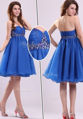 2016 Classical Short Sweetheart Beading Bridesmaid Dress in Blue