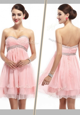 2016 Lovely Sweetheart Short Bridesmaid Dress with Beading and Ruching