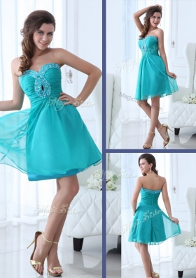 2016 Pretty Short Sweetheart Beading Bridesmaid Dress in Turquoise