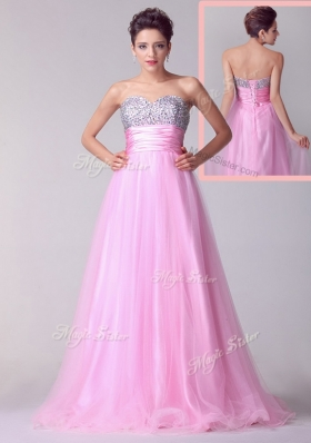 Beautiful  A Line Brush Train Rose Pink Prom Dresses with Beading for Spring